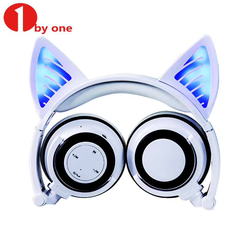 Wireless Bluetooth Cat Ear Headphones Flashing Glowing LED Light Headphone Cosplay Headset Earphone Gift for Girls Kids Gaming cartoon cat ear headphone flashing glowing cosplay cat ear headphones foldable gaming headsets earphone with mic for girl gift page 1