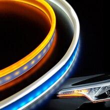 2pcs Ultra-thin waterproof 45cm/60cm LED DRL turn signals external light daytime running auto 12V SMD COB Car-styling