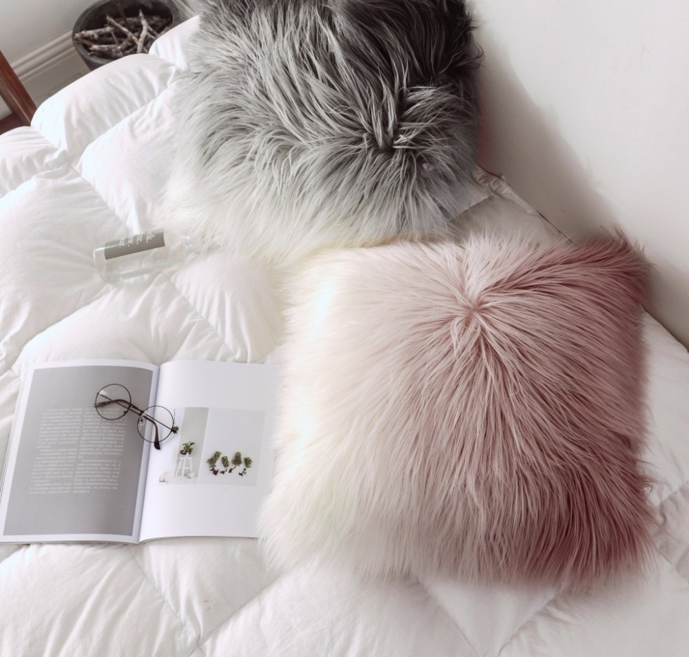 Tibet Sheep Fur Warm Cushion Gradient Sweet Princess Style Cushion Pillow Home Girl's Bedroom Decoration Hold Pillow Cushion