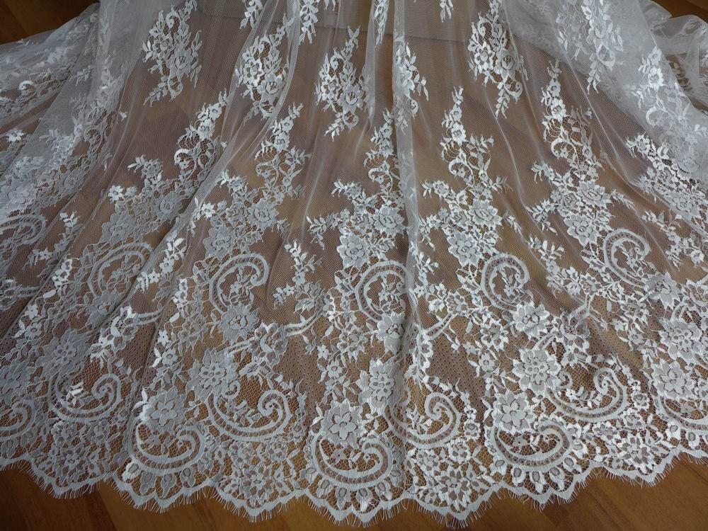 Tende In Pizzo Chantilly.Avorio Francese Chantilly Lace Tessuto Floreale Elegante Di