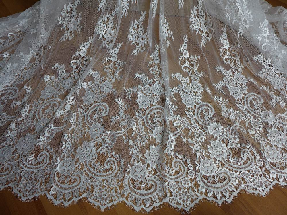Buy ivory french chantilly lace fabric for Wedding dress fabric stores