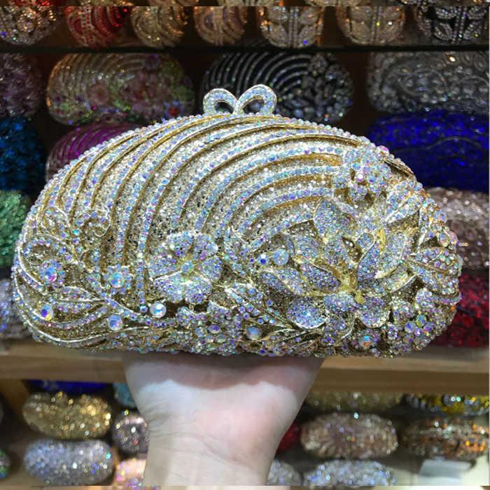 Bolso de mano verde púrpura dorado con estampado de flores de cristal para mujer, bolso de fiesta, Clutch de boda para mujer, con cadena larga