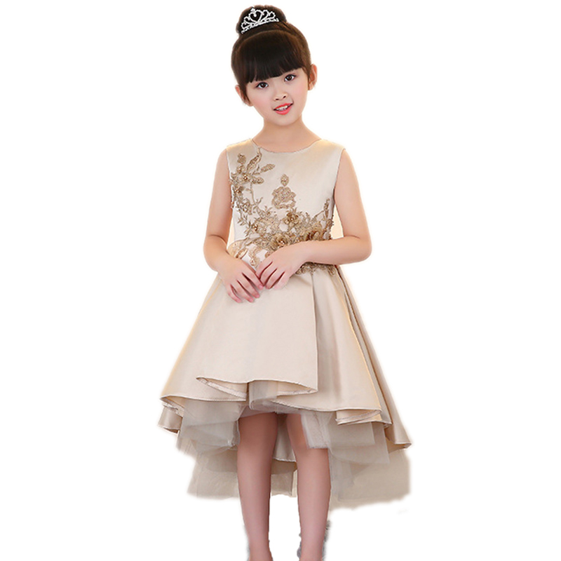 Children Girls Elegant Embroidery Floral Trailing Dress Birthday Wedding Evening Party Dress Kids Ball Gown Princess Dresses E91 floral embroidery openwork sheath dress