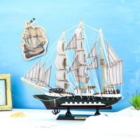 Mediterranean Style Home Decor Crafts Ship Model Nautical Wooden Sailing Ship Boat Home Decoration Miniature Christmas