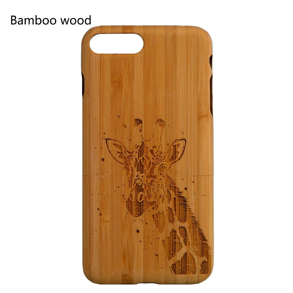 imágenes para 100% Caja de Madera Maciza De Bambú Para el iphone 5 5S 6 6 s 6 más 7 Personalizar Nombre y Diseño de Patrones