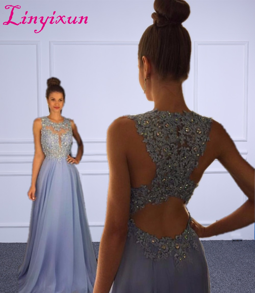 Linyixun Real Photo Sexy O Neck A Line Chiffon Long   Prom     Dresses   2018 Lace Appliques Beaded Light Blue Marsala Backless Gown