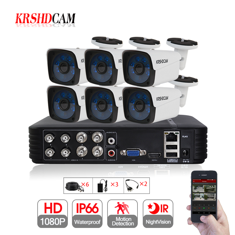 6CH AHD Security CCTV System 8CH 1080N DVR 30M IR 6PCS 1080P CCTV Camera font b