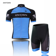 XINTOWN Bike Ropa Ciclismo Bicycle Cycling Jersey Short Shirt Set Comfortable Outdoor Sports Blue Size S-4XL