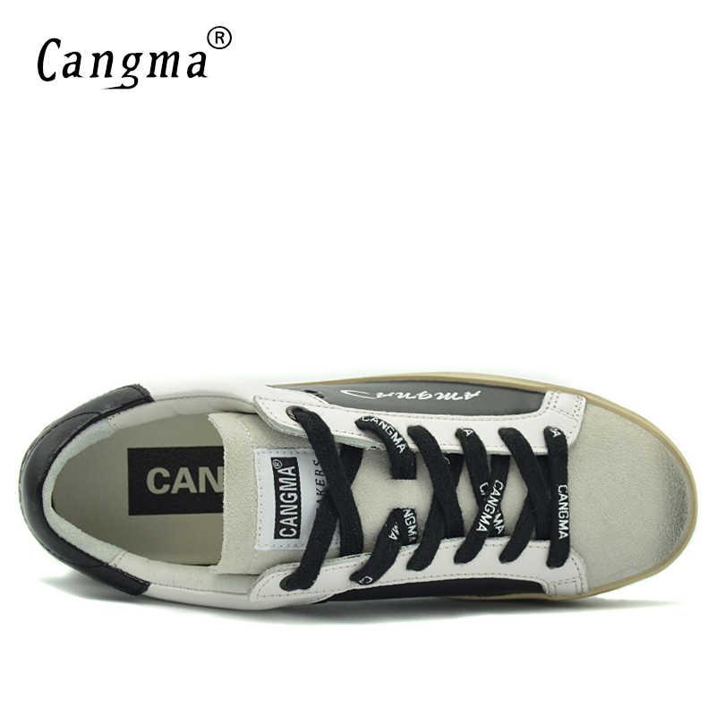 CANGMA สีดำและสีขาวรองเท้าผ้าใบรองเท้าผู้ชาย Luxury หนังแท้หนังนิ่มชายรองเท้าผู้ใหญ่สบายๆ Breathable Retro รองเท้าแฟชั่น