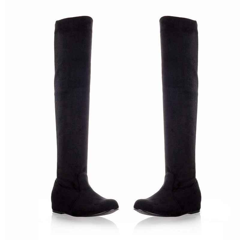ASUMER PLUS ขนาด 34-47 ใหม่แฟชั่นเข่าแบนต้นขาสูงรองเท้าหนังนิ่มราคาสีดำหญิงแฟชั่นรองเท้าสตรี