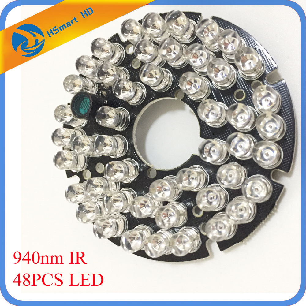 New 940nm 48 LEDs 5mm Infrared IR 60 Degrees Bulbs Board 940nm For CCTV AHD TVI 1080P Wifi 60 Camera 60 Degree 15m Night Vision