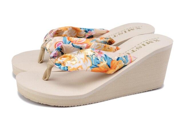 9a5ccf95eec323 Women Summer Slip-resistant Silks Satins Beach Flip Flops EVA Rubber High-heeled  Wedges Platform Thongs Sandals Slipper Shoes