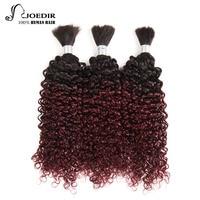 Joedir Pre colored Peruvian Curly Hair Human Braiding Hair Bulk 3 Bundles Deal No Weft Remy Hair Bundles Ombre 99J Color