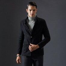 2016 Осень Зима Новая Мода Стенд Воротник Шерстяные Куртки Для Мужчин Однобортный Черный Темно-Синий Цвета Classique Манто Homme