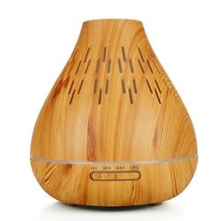 Air Humidifier Ultrasonic Aroma Essential Oil Diffuser 400Ml Aromatherapy Machine With Wood Grain 7 Color Changing Led Light U