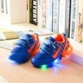 Nova primavera e verão esporte de corrida meninos meninas casual shoes com luz sapatilhas crianças led net respirável crianças shoes tamanho 21-35
