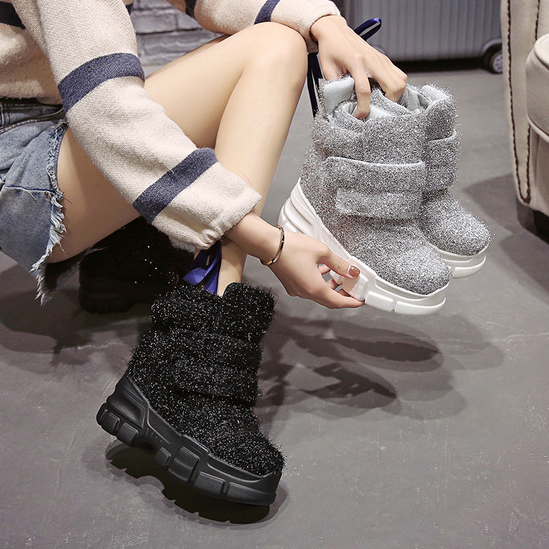 Image 3 - 2019 Women Winter Ankle Boots Wedge Platform Sneakers Woman Boots 10CM Height Increaseing High Top Shoes Autumn Botas Feminina-in Ankle Boots from Shoes