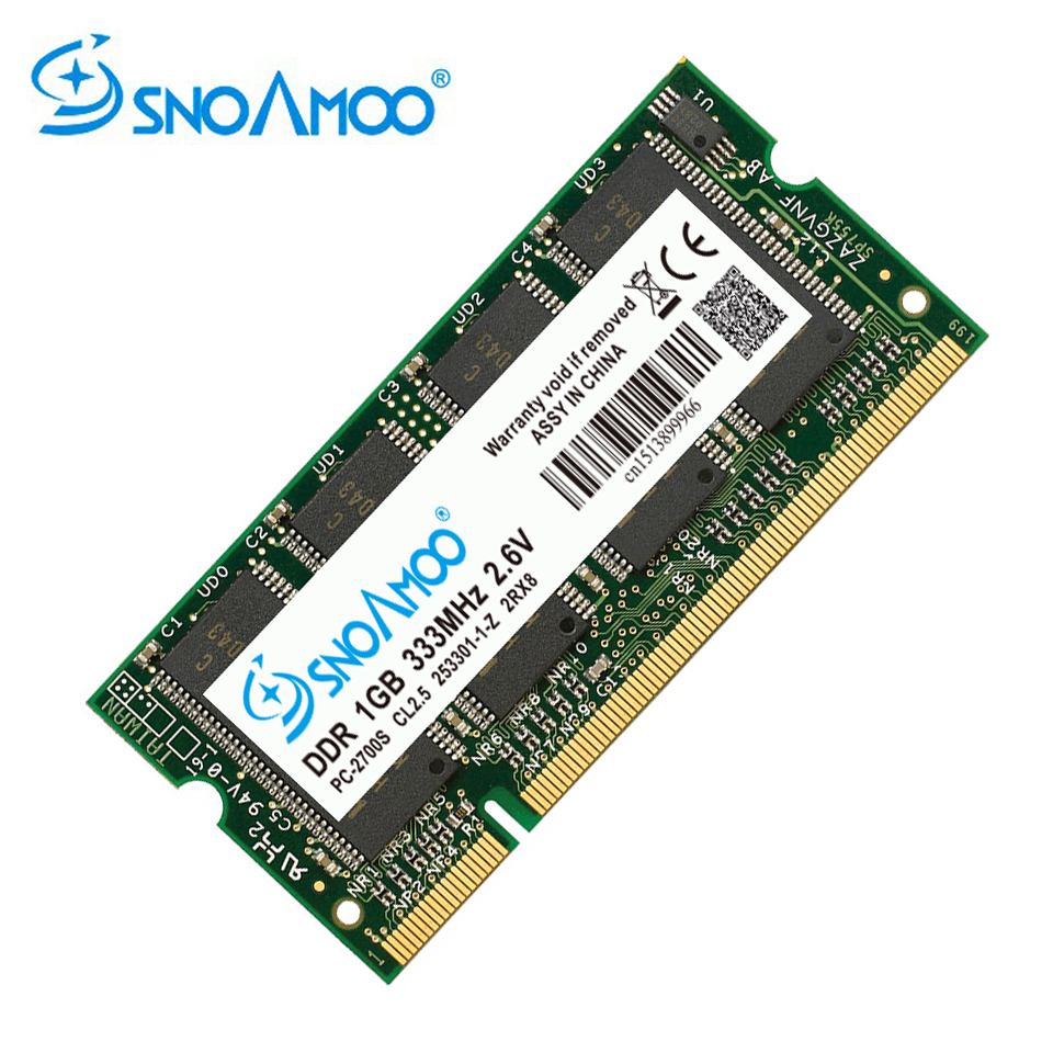 SNOAMOO Laptop Memory Ram SO-DIMM DDR1 DDR 400 333 MHz / PC-3200 PC-2700 200Pins 1024MB 1GB For Sodimm Notebook Memory Lifetime