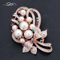 DFX003 Simulated Pearl Bead Flower Rose Gold Color Vintage Pins and Brooches Bouquet Jewelry For Women Crystal For Wedding