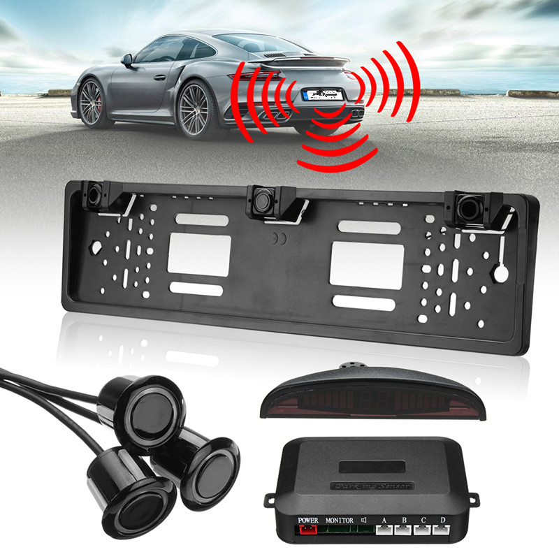 Universal Wireless Car Reverse Parking Sensor System Black Kit Number License Plate Frame With Parking Sensor Box