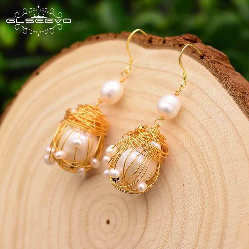 GLSEEVO Original Drop Earrings For Women Natural Fresh Water White Pearl Dangle Earrings Wedding Gift Silver 925 Jewelry GE0658