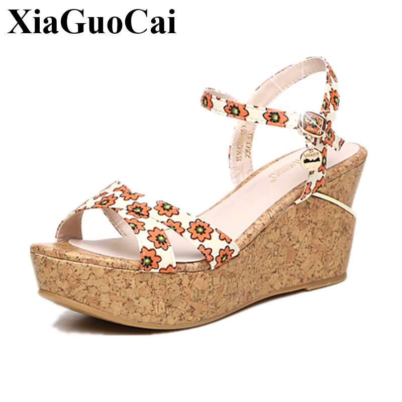 Plus Size Summer Women Sandals Wedges Peep Toe Platform Sandals Pu Flower Bohemia Flats Leisure Sandals Footwear Female H163 35 pink vietnam sandals flats female summer outdoor leisure shoes