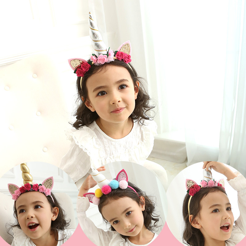 Korea  High Quality Hand Made Unicorn Crow  flowers Retro Hair Accessories Hair Bows  Flower Crown Hairpin Headbands For girls