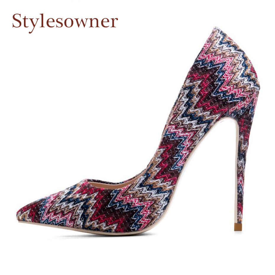 все цены на Stylesowner 2018 new arrive women shoes colorful shallow sexy stilettos high heels 12cm pointed toe ladies pumps party shoes онлайн