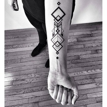 Waterproof Temporary Fake Tattoo Stickers Sexy Cool Black Geometric Square Totem Design Body Art Makeup Tools