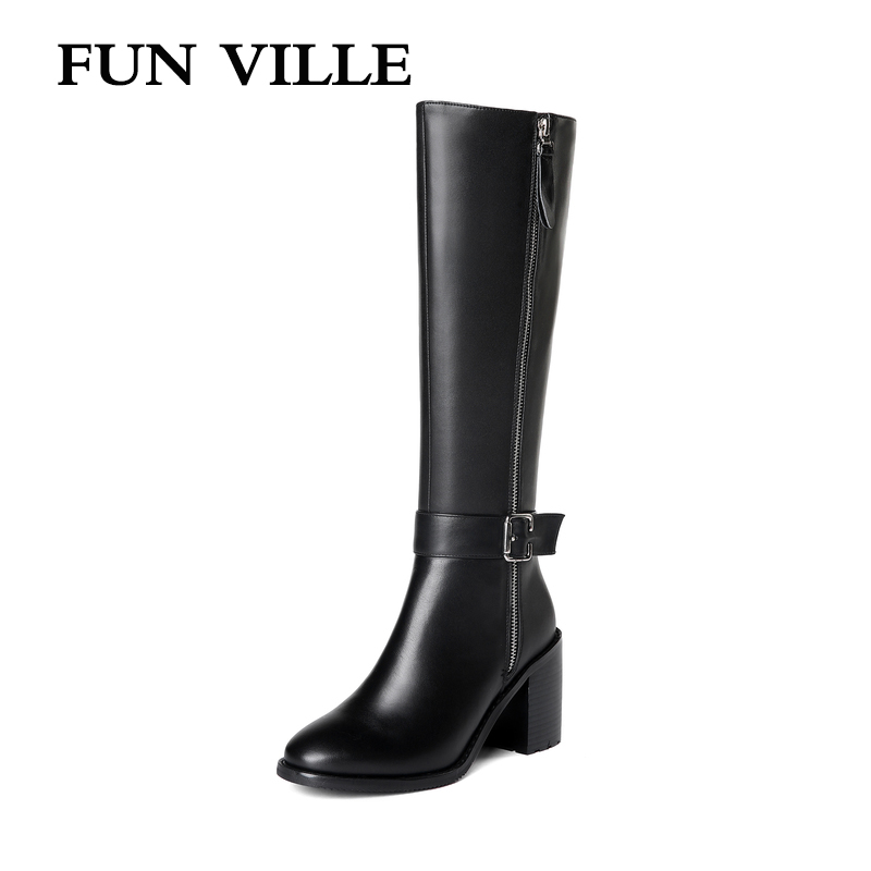 FUN VILLE 2018 New Style Women knee High Boots Genuine Leather Winter High heel Boots Warm Round toe Square Heel Big size 34-45 fun ville 2018 new fashion women flats shoes genuine leather sheepskin casual shoes square heel 4cm round toe lace up size 34 43