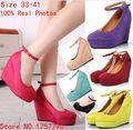 Клинья обувь для женщин насосы клин туфли на платформе клинья высокой каблуки обуви кнопку пояса женщин клинья туфли на платформе размер Pluse 41