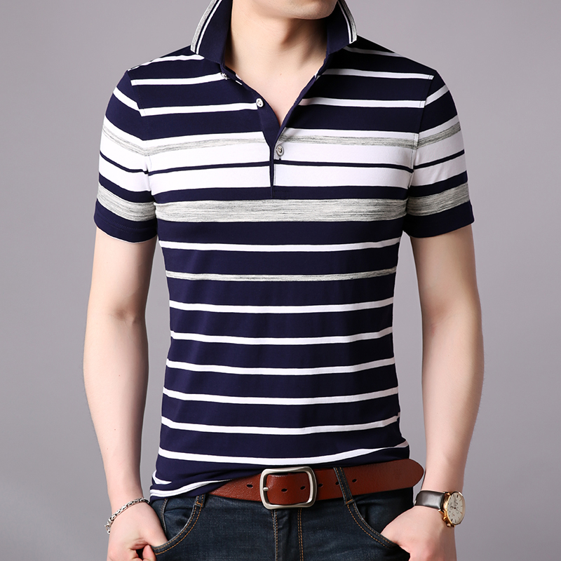 2019 New Fashion Brand Clothes Polo Shirts Men Striped Summer Short Sleeve Slim Fit Cotton Boys Poloshirt Casual Men Clothes