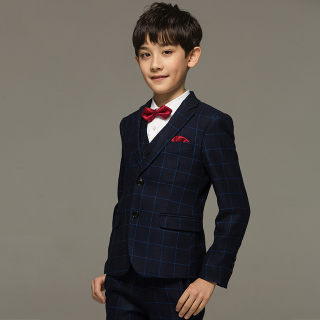 cdcaa1e48c402 Brand boy clothes Blue Plaid Korean Style children kid baby boy formal suits  for wedding kids tuxedo boy prom suits dress suits