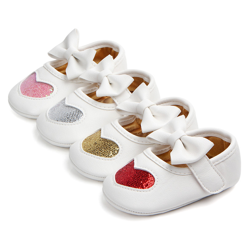 Red Heart Princess Baby Girl First Walkers Shoes Infant PU Leather BIg Bow Shoes For Party Bebe Sneakers 11-13cm