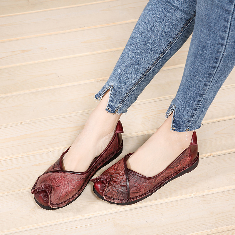 2018 VALLU Women Flats Shoes Genuine Leather Loafers Handmade Vintage Women Loafers Comfortable Soft Original Shoes