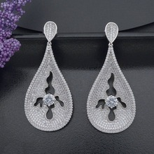 Luxury Special Water Drop Earring Women Engagement Wedding Full Micro Paved Cubic Zircon Copper