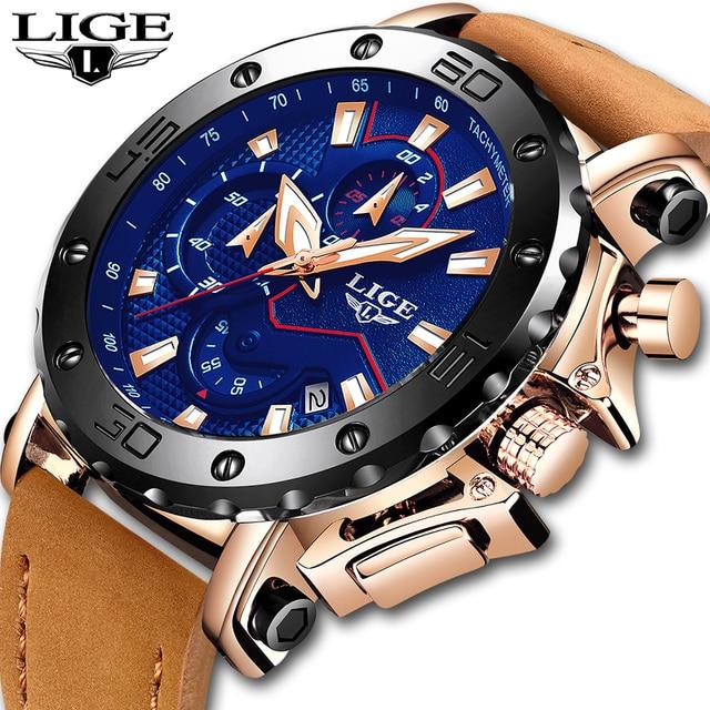 2019 למעלה מותג ליגע יוקרה Mens אופנה עסקים הכרונוגרף קוורץ שעון Mens מזדמן עור עמיד למים שעון Relogio masculino