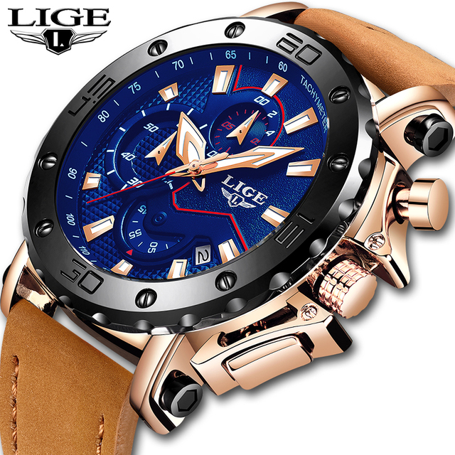 2019 Top Merk LUIK Luxe Mens fashion Business Chronograaf Quartz Horloge Heren Casual Lederen Waterdicht Horloge Relogio masculino