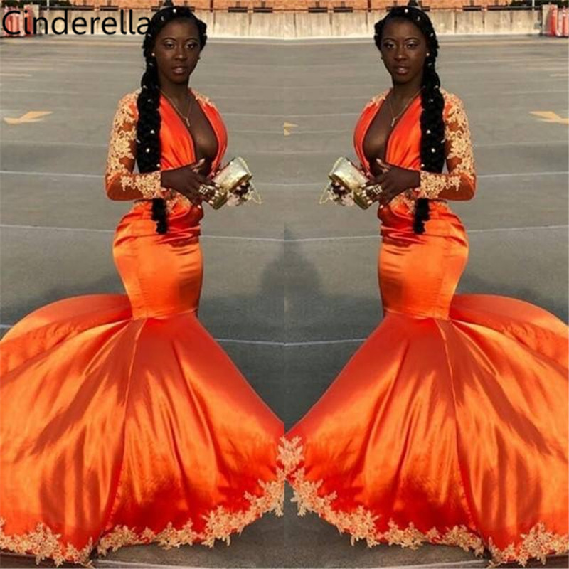 Cinderella Orange V-Neck Long Sleeves Mermaid Lace Applique Crystal Beaded Silk Satin   Prom     Dresses   Lace Party Gowns For   Prom