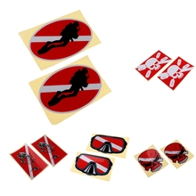 2Pcs Waterproof Reflective Adhesive Scuba Diving Sticker Tank Cylinder Fin Flippers Stickers Decals  Accessories