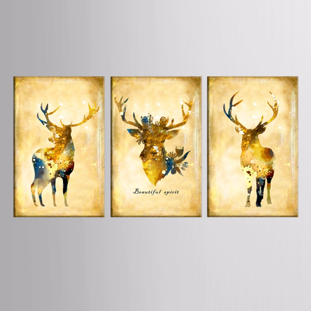Nordic Landscape Silhouette Deer Canvas Art Posters and Prints Wall ...