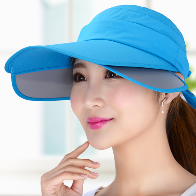 9737cc89540 Summer hat female sunbonnet cap retractable large brim sun hat uv sun hat  outside sport visor