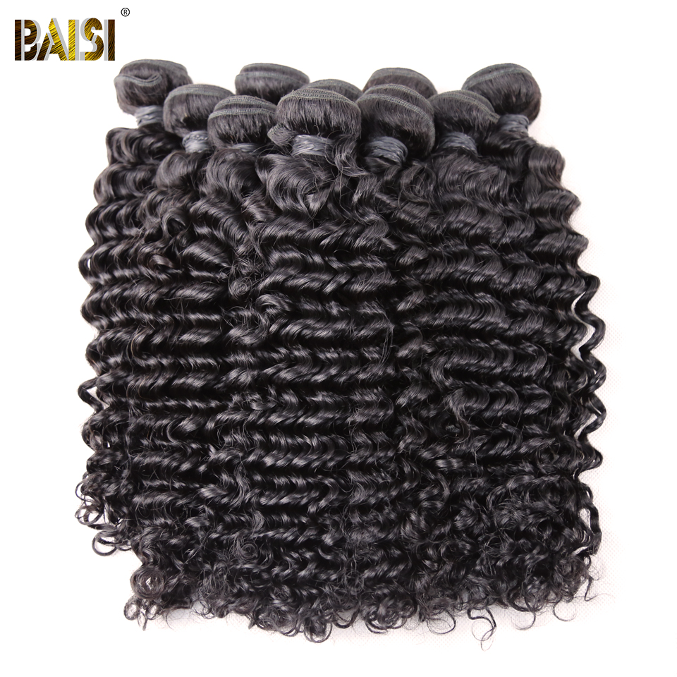 BAISI Hair Brazilian Remy Hair Deep Wave Machine Double Weft 100% Human Hair Weaving Nature Color 10Bundles/Lot