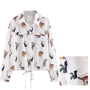 Европейские товары, новинка весны 2019, короткая рубашка с животным, кружевной галстук на талии