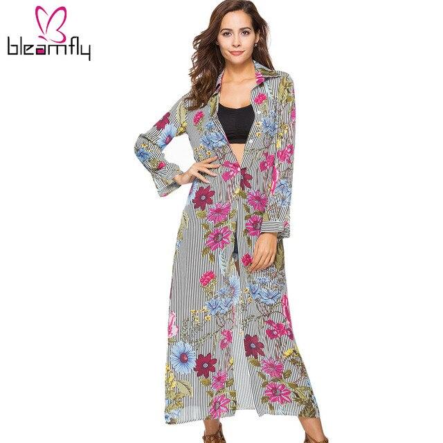 043536556e Mulheres Vestido Estampado Floral de Manga Comprida Casual Elegante  Listrado Praia Vestido Longo Maxi Chiffon Vestidos