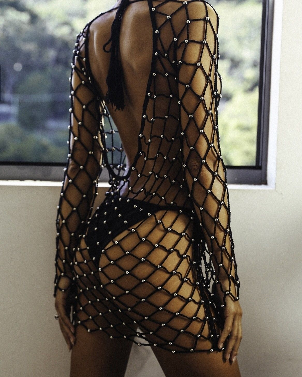 2018 Summer New Sexy Women Fishnet Hollow Out Beading -8108