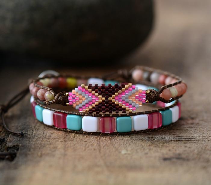 Bohemia Bracelet Women Colorful Seed Beads Plastic Beads 2 Strands Wrap Bracelet Women Tribal Bracelet Birthday Gift Dropship bracelet