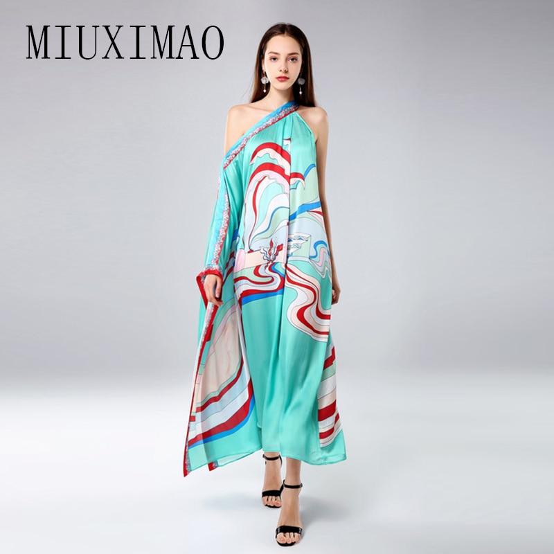 MIUXIMAO personnalisé robe de grande taille mode nouvelle arrivée lâche asymétrique Slash cou et une épaule cheville longueur robe femmes