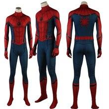 Новейший Костюм Супергероя человека-паука для выпускного вечера; костюм на Хэллоуин; костюм из спандекса; комбинезоны; Маска