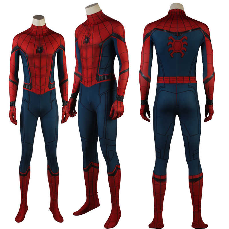 Últimas Spiderman Superhero Cosplay Máscara de Halloween Spandex Macacões Terno do Regresso A Casa